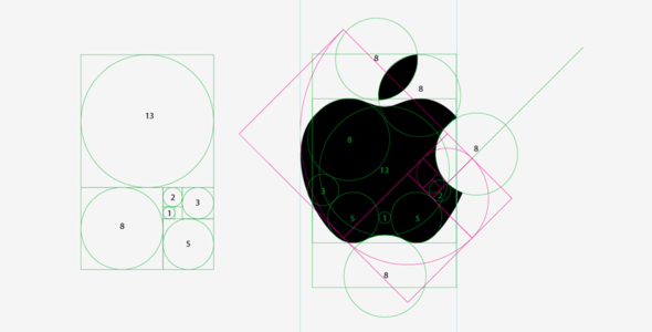 golden ratio design of apple logo
