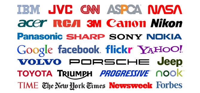 Wordmarks of various industries, including technology, internet, automotive and news media.