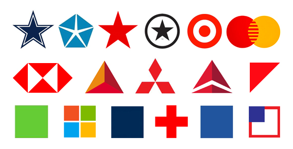 Well known logos with basic shapes as symbols or containers for type