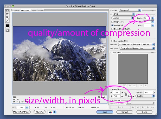 Optimizing an image: applying compression to make the file size smaller, so it will load faster.